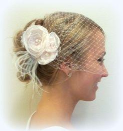 Vintage Veils Headpieces Canada - Attractive Vintage Feather Flowers Lace Pearls Tull Headpiece Head Veil Wedding Bridal Accessories 2015 Bride Hat Charming Bride S-109