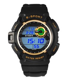 kids digital sports watch Australia - New Fashion Sport PU Kids Digital Watches Strap Round Dial Waterproof Watches LED Digital Watches For Men