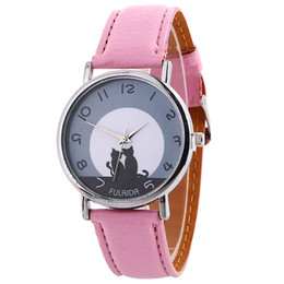 Wrist Watch For Couples Canada - NEW Fashion women ladies leather double couple cat printing watch wholesale lady casual dress quartz wrist watches for women