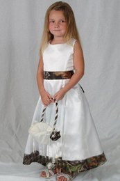 Black White Kids Pageant Dress Canada - 2016 Realtree Camo Flower Girl Dresses for Wedding Party 2015 White Satin Forest Kids Formal Wears Custom Made Little Girl Pageant Gowns