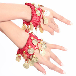 indian coin wholesaler 2019 - Belly Dance Costume Wrist Arm Ankle Cuff Coin Beautiful Bracelets Belly Dance Bracelets Belly Dance Accessory 12 colour