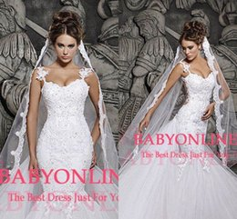 Barato Laço Vestido De Tule Véu-2017 Custom Made White Ivory Long Tulle Vestidos de casamento veils One Layer Applique Lace Bridal Veils Weddind Vestido BO4801 match veil CPA334