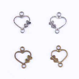 two heart charms NZ - Heart Antique Silver Bronze two side conect Vintage Charms Pendant Fit Bracelets Necklace DIY Metal Jewelry Making 100pcs lot 401