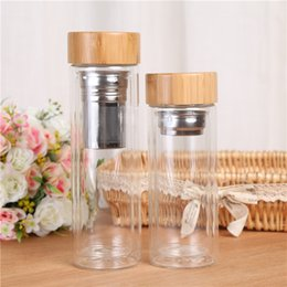 $enCountryForm.capitalKeyWord Australia - Tea Filter Cups Double Layer Glass Cup Heat Resisting Bamboo Cover Water Bottle Portable Drinking Tumblers 350ml 450ml 20 5bd C RZ