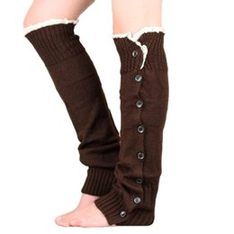 China 2018 New Button Lace Women Leg Warmers Knitted Winter Boots Socks Cuffs Fashion Knee High Polainas Ladies' Beenarmers Free Drop Shipping suppliers