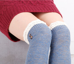 $enCountryForm.capitalKeyWord Canada - Thigh High Stockings Cotton Wool Thigh High Stockings Cotton Wool Lace Boot Socks Over the Knee Socks for Women Button Winter Boot Socks