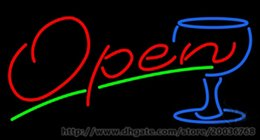 """Hot Bar Australia - Hot Open Wine Glass Neon Sign Art NEON Sign REAL GLASS SIGN BEER BAR PUB LIGHT SIGNS Store Display 17""""X14"""""""