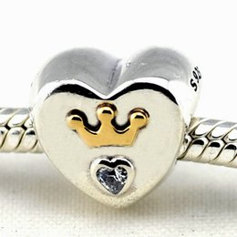 $enCountryForm.capitalKeyWord Canada - Majestic Heart 14K Gold Crown with Clear CZ 100% 925 Sterling Silver Beads Fit Pandora Charms Bracelet Authentic DIY Fashion Jewelry