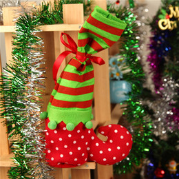 Chinese  Christmas Decoration Satin Wine Bottle Bag Elf Foot Polka Dot Christmas Holiday Gift Giving Candy Bag Christmas Socks manufacturers