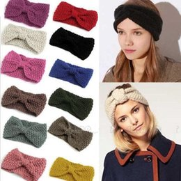 Wholesale 2017 Women s Fashion Wool Crochet knot Headband Knit Hair band Flower Winter Ear Warmer mixed color Z614