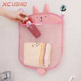 Folding Storage Mesh Organizer Canada - Wholesale- Cartoon Bathroom Hanging Storage Bag Baby Kids Bathing Toy Storage Organizer Kitchen Folding Mesh Storage Bag