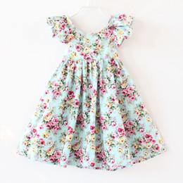 Cherry yellow Color online shopping - Floral Print Dress Girls Cherry lemon Flower Ruffle Fly Sleeve Kids Princess Dress Summer Backless Suspender Children Party Sundress Color