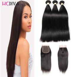 Lace weaves for bLack women online shopping - 100 Unprocess Virgin Straight Human Hair Extensions Brazilian Human Hair bundles Hair Weaves With Lace Closure For Black Women HCDIVA