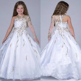 $enCountryForm.capitalKeyWord Canada - 2015 White Gliter Ball Gown Girls Pageant Dresses with Single Long Sleeve Beading Crystal Organza Floor Length Kids Formal Wear