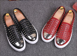 Thick Soled Wedding Shoes NZ - 2017 New sell men low top rivets sneakers shoes mens patent leather causal shoes spike stud loafers thick heel sole party shoe male M88