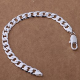 sterling silver figaro bracelet NZ - Global Hot 925 sterling silver plated Figaro chain bracelet fashion Men's Jewelry 8MMX20CM Top quality free shipping