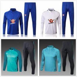 Suéter Baratos-2017 2018 Traje de Entrenamiento de Invierno Largo Blues Chándal Jogging Survetement Sweater The Blues Soccer Sets Hazard Suits Chándal Long Warm Up