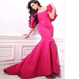 $enCountryForm.capitalKeyWord Canada - Vestidos De Festa Prom Dress Scoopes Capped Sleeve Fuchsia Bow Mermaid Prom Dress Emerald green Sexy Off ShElegant Vintage Evening Gown 2016