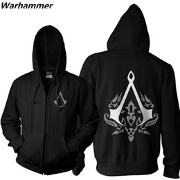 Assassin Creed Veste Coton Pas Cher-Nouveau Assassin Creed Unity Hommes Mode Sweat À Capuche Zipper Up EU Taille Noir 2XL À Capuche Adolescent Casual Polaire Coton Pull Vestes