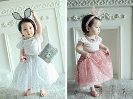 wholesale kids tshirts Australia - girls sequin skirt set short sleeve cotton tshirts skirt kids clothes baby girls princess suits ball gown skirt free shipping in stock