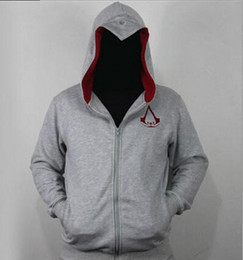 Wholesale assassin s creed hoodie online – oversize Men s Spring And Autumn Sportswear Hoodies Grey Assassins Creed Hoodie Male Zip Sweatshirts Assassin Creed Jacket Cosplay Clothing For Man