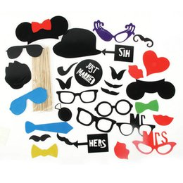 Palo Labial Baratos-Suministros de la boda 31Pcs / Lot DIY Photo Booth Props Mask Glasses Bigote Lip en una fiesta de cumpleaños Stick Decoración favor