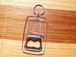 $enCountryForm.capitalKeyWord NZ - FREE SHIPPING BY DHL 100pcs lot New Plastic Blank Acrylic Keychains with Bottle Opener Blank Photo Frame Keyrings for Gifts
