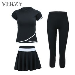 Wholesale Verzy Pieces Black Fitness Women Yoga Set Sport Suit Tight Skirt Jumpsuit Gym Running Plus Size Sportswear Dancing Costumes