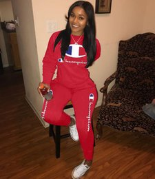 Girl s cotton lonG pants online shopping - Women Champions Embroidery Letter Tracksuit Long Sleeve Hoodie Tops Pants Jogger Set Casual Outfit S xl Sweatsuit Sportswear new A3207