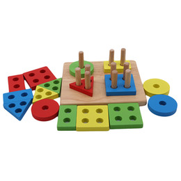wooden blocks building Canada - Baby Early education Toys Wooden Geometric shape Sorting Board Blocks Kids Educational Toys Building Blocks Child Gift