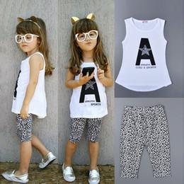 Kids Sleeveless White T Shirts Australia - summer fashion baby girls white sleeveless tees trousers suits children vest t-shirts pants sets cotton Leopard print infant kids clothing
