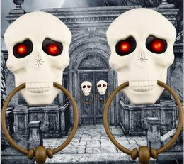 glow party decorations UK - 2pcs Halloween doorbell glowing sound horror props electric toys welcome door hanging skull decoration free of freight