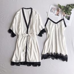 $enCountryForm.capitalKeyWord Australia - Freshing Summer Black Lace Sexy Women Robe Set Ice Silk With Belt Soft Sleepwear Deep V Fashion Pijama