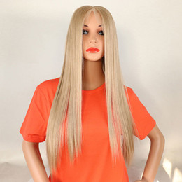 $enCountryForm.capitalKeyWord Australia - Honey Blonde Straight 13*6 Inch Hand Tied Synthetic Lace Front Wig Glueless Heat Resistant Fiber Hair For Women Wigs