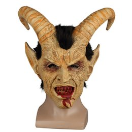 Halloween Party Latex Mask Australia - ccessories Masks Eyewear Scary mask demon devil Lucifer Horn latex Masks Halloween movie cosplay decoration Festival Party Supply props A...