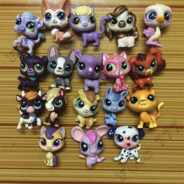 Cat Dog Figures Australia - 18pcs lot Random Littlest Pet Shop Q LPS-Littlest Shop Series Pet Doll Animal Cartoon Cat Dog Action Figures Collection Toys Free Shipping