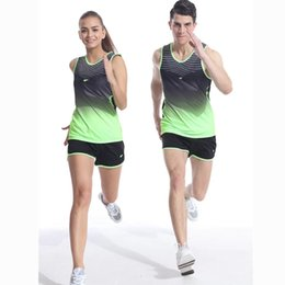 running track field 2019 - Men Women Yoga Sets Professional Marathon Running Sports Vest + Shorts Fitness Gym Track and Field Tank Tops Elastic Sho