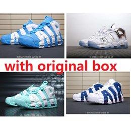 Mens economici Air più scarpe da basket Uptempo retrò in vendita Scottie Pippen 96 University Blue sland Green Chrome bambini donne stivali scarpe da ginnastica in Offerta