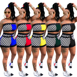 $enCountryForm.capitalKeyWord Australia - Women plus size summer 2 piece set tracksuit sportswear gym t-shirt shorts sports suit chest wrap vest leggings outfits tshirt bodysuits 869