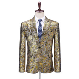 mens dress clothing UK - gold Jacquard Blazer men groom suit mens wedding suits costume singer star style host master stage clothing formal dress