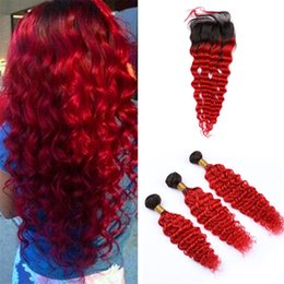 $enCountryForm.capitalKeyWord Australia - Ombre Red Deep Wave Human Hair Closure and Bundles Deep Curly Two Tone 1B Red Ombre Virgin Har Weaves with 4x4 Closures