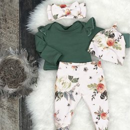 Cute outfits for spring online shopping - toddler baby clothing set Girls Floral Print Top Pants Cap Headband Ruffles Outfits Set conjunto menina costume for