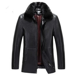 Wholesale fur pocket liners resale online - Mens Winter Leather Jacket Mink Fur Coats Detachable Liner Warm Outwear Overcoat Windbreaker Thickening Tops For Male M XL High Quality