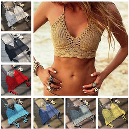 $enCountryForm.capitalKeyWord Australia - Fashion Crochet Lace Bikini Vest Knitted Bra Women Bandage Push-up Boho Beach Padded Bras Halter Cami Tanks Crop Top Thong Knit Swimwear XL