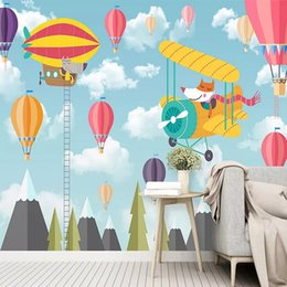 wallpaper cartoons Australia - Custom large mural 3D wallpaper Nordic cartoon creative blue sky cloud child bedroom mural TV back wall decor deep 5D embossed