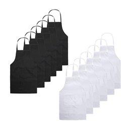 Pocket crafts online shopping - Bib Aprons for Restaurant Unisex Black Apron Bulk Apron Adult with Front Pocket for Kitchen Crafting BBQ Drawing Black White