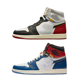 Shoe Box Canvas NZ - New Union LA x 1 High OG NRG White Storm Blue Varsity Red Wolf Grey Basketball Shoes Men 1s Designer Sneakers With Box