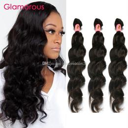 Top Quality Virgin Human Hair Canada - Glamorous Real Human Hair Peruvian Malaysian Brazilian Russian Hair Weft Top Quality Natural Wave Virgin Human Hair 3 Bundles Free Shipping