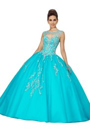 39bb8c9e9d9 Aqua Blue Embroidered Sweet 16 Dresses Ball Gown 2019 Bateau Cap Sleeve  Beaded Draped Lace-up Backless Prom Dress Quinceanera Dress