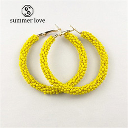 Small Hoop Earring Wholesale Australia - 2019 New Fashion Red Yellow White Beads Small Circle Hoop Earrings for Women Big Round Colorful Bohemian Jewelry Gift